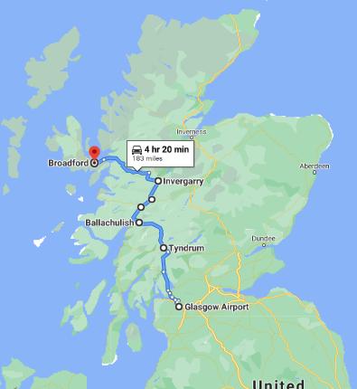 Glasgow to Broadford, Isle of Skye IV49 9AE