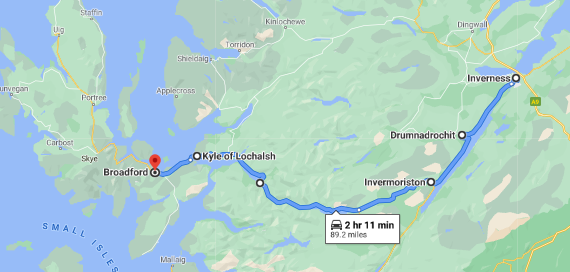 Inverness to Broadford, Isle of Skye (South road) IV49 9AE